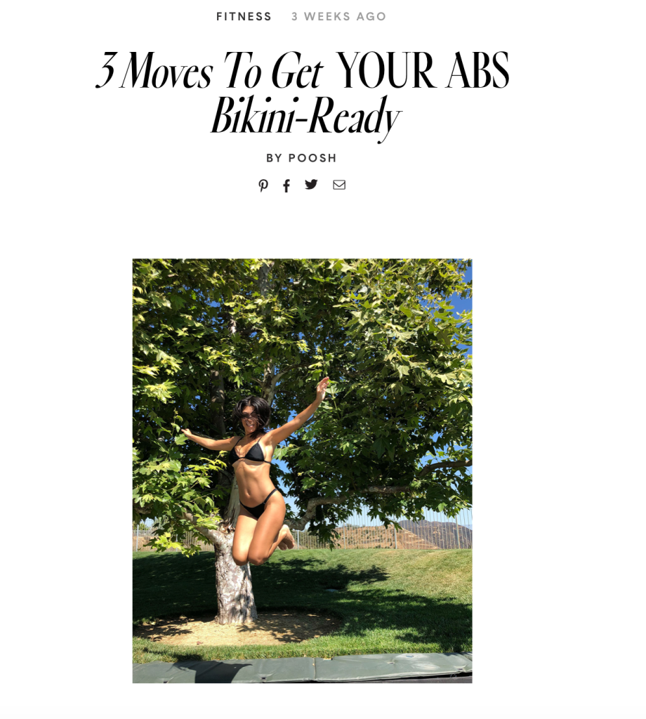 poosh fitness abs Kourtney Kardashians New Lifestyle Site Slammed for Catering to Thin, Rich White Women