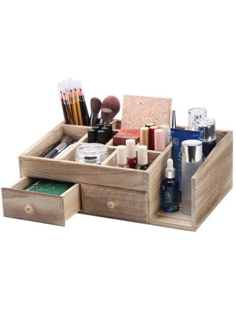 X-cosrack Rustic Wood Storage Organizer Box