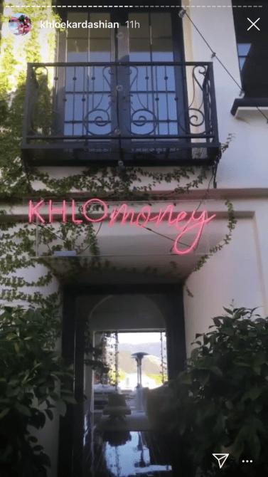 khlomoney sign Khloé Kardashians 35th Birthday Party Was A Whimsical Pink Wonderland