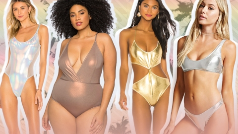 Shiny AF Metallic Swimwear Is Never Not Fun | StyleCaster
