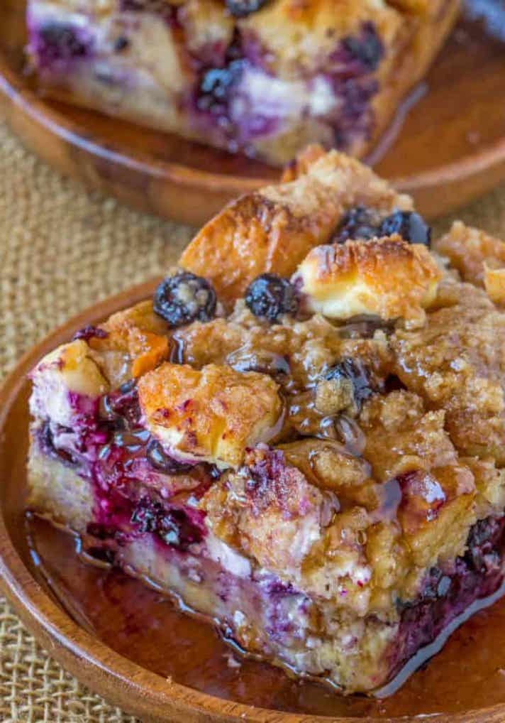 STYLECASTER | 17 Slow-Cooker Brunch Recipes Worth Staying In For | Blueberry Cream Cheese French Toast Bake