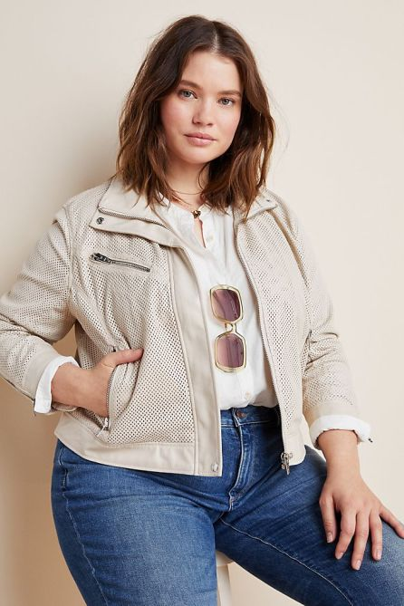 STYLECASTER | Summer Minimalist Outfits | cream moto jacket