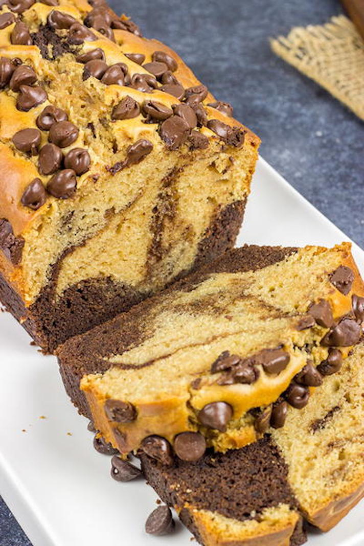 STYLECASTER | Easy Quick Breads That You Really Can't Mess Up | Chocolate Peanut Butter Bread