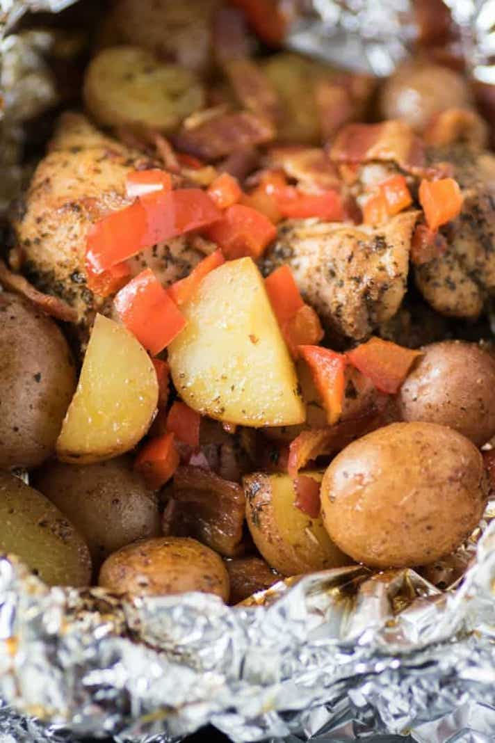 STYLECASTER   Easy Weeknight Chicken Recipes That Are Perfect for Fall   Grilled Spice Chicken Potato Foil Packs