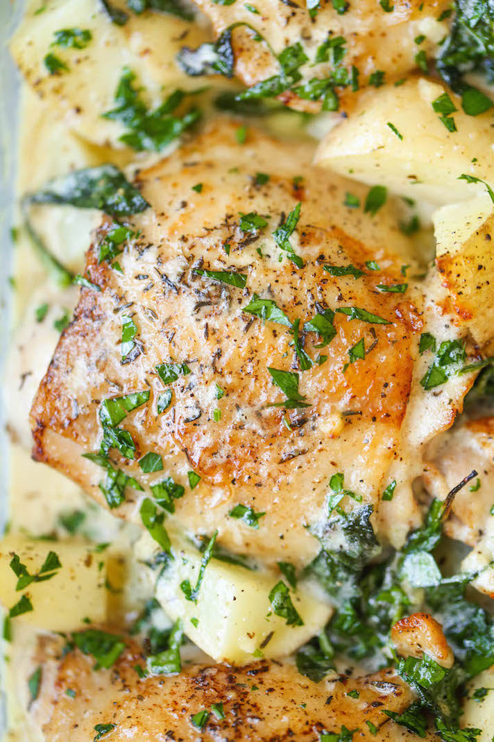 STYLECASTER   Easy Weeknight Chicken Recipes That Are Perfect for Fall   Chicken and Potatoes in Garlic-Parmesan Cream Sauce