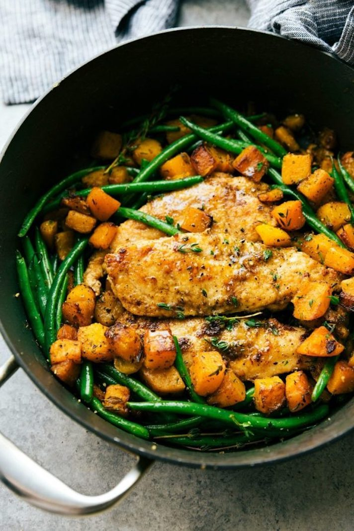 STYLECASTER   Easy Weeknight Chicken Recipes That Are Perfect for Fall   Skillet Chicken and Butternut Squash