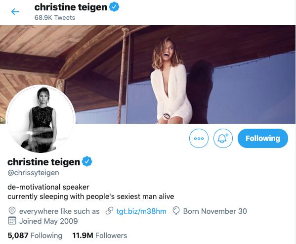 chrissy teigen twitter page John Legend Won Sexiest Man Alive— But Chrissy Teigen Just Won Twitter