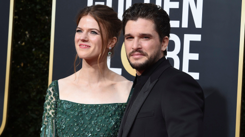 Kit Harington & Rose Leslie Had the Cutest PDA on the Golden Globes Red Carpet | StyleCaster
