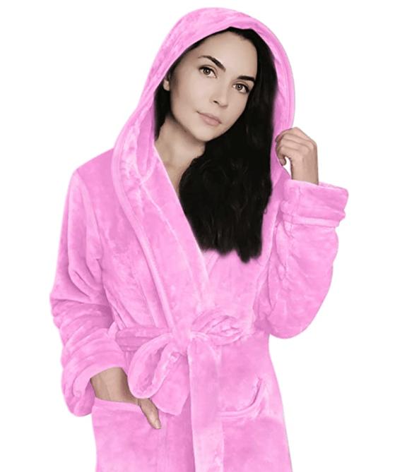 NY Threads Women Fleece Hooded Bathrobe