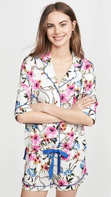 STYLECASTER | Virtual Party Theme Ideas | floral pajamas