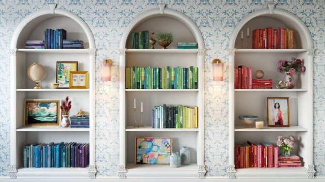 STYLECASTER | Home Interior Zoom Backgrounds | colorful book shelves