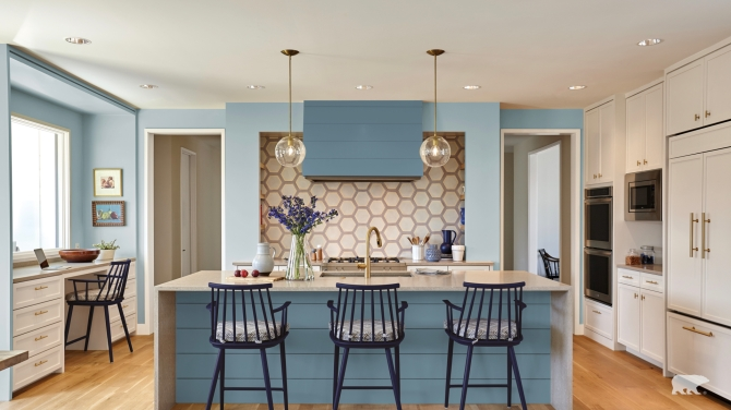 STYLECASTER | Home Interior Zoom Backgrounds | blue kitchen