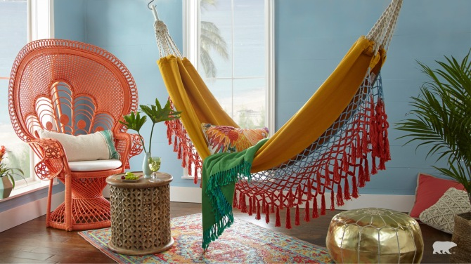 STYLECASTER | Home Interior Zoom Backgrounds | sunroom hammock