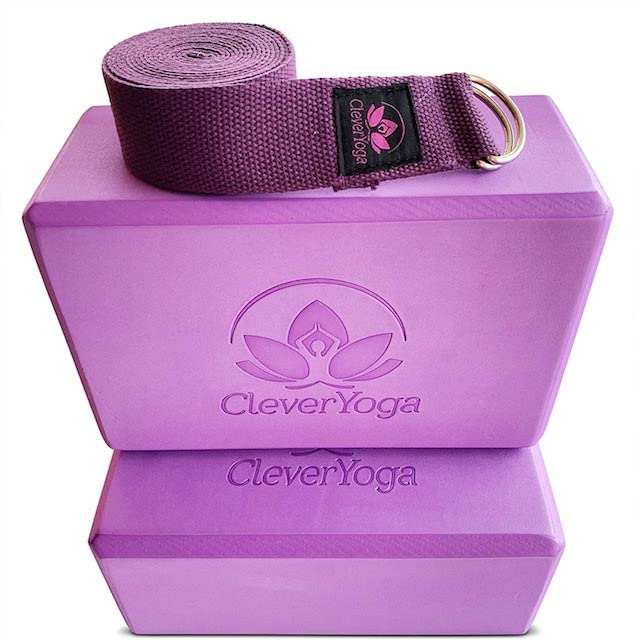 yoga block and strap clever yoga Sturdy Yoga Block and Strap Sets to Enhance Your Flexibility & Form