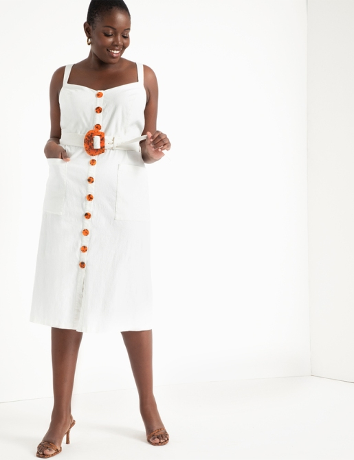 STYLECASTER | Eloquii Spring 2020 Sale | white button front dress