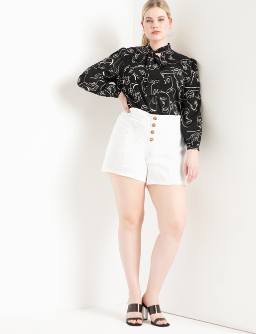 STYLECASTER | Eloquii Spring 2020 Sale | white linen shorts