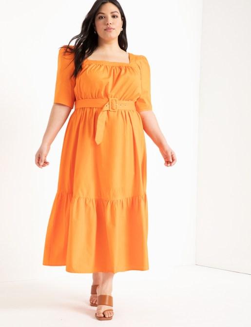 STYLECASTER | Eloquii Spring 2020 Sale | orange square neck dress
