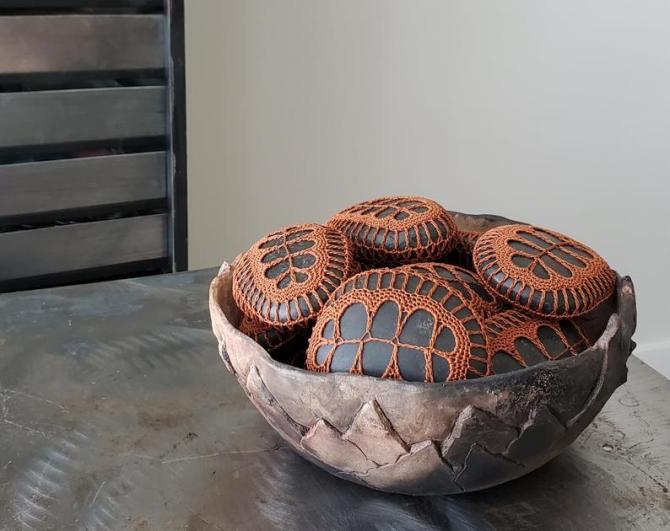 STYLECASTER | Altuzarra x Etsy Home Decor Collection | crochet stones