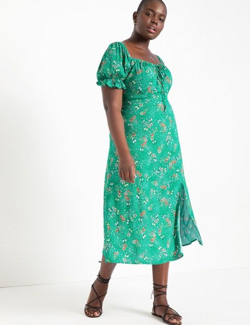 STYLECASTER | Eloquii Spring 2020 Sale | green puff sleeve dress