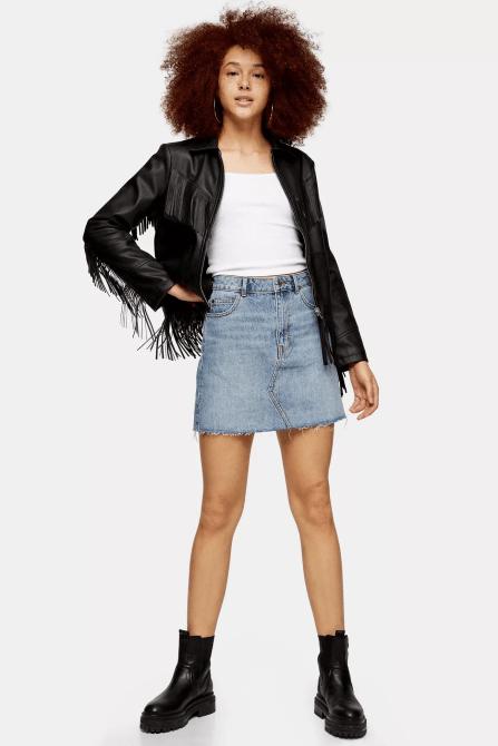 STYLECASTER | Topshop Sale April 2020 | denim mini skirt