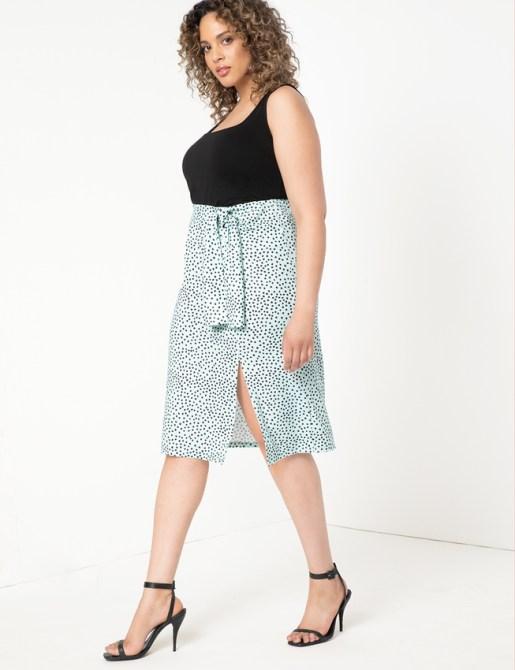 STYLECASTER | Eloquii Spring 2020 Sale | tie front polka dot skirt