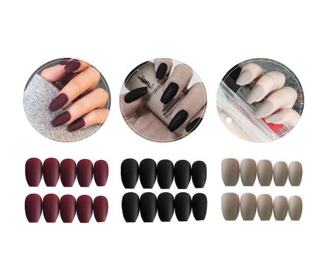 3 Boxes (72 Pcs) Matte Coffin Press on Nails