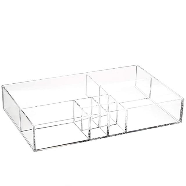 AmazonBasics Acrylic 8-Compartment Durable Makeup Organizer