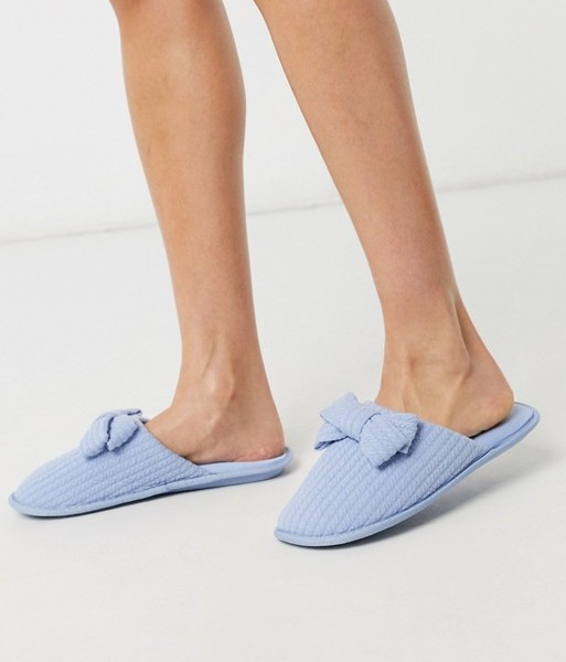 Women'secret textured knot slippers in pale blue
