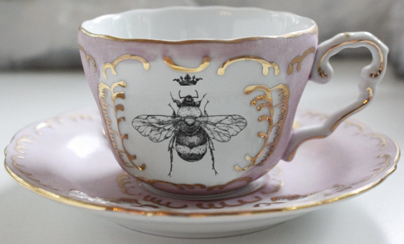STYLECASTER | spring home decor trends | Etsy spring 2020 home decor trends | bee motifs | bee teacup