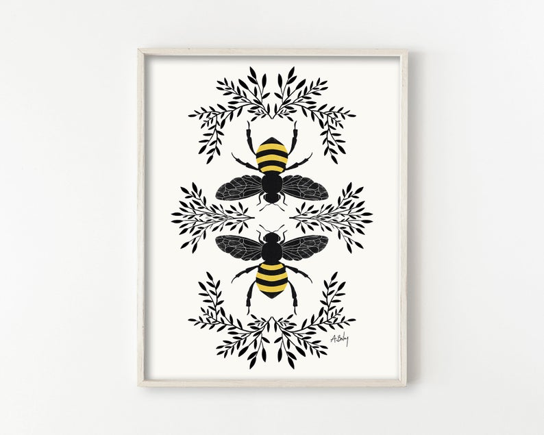 STYLECASTER | spring home decor trends | etsy spring 2020 home decor trends | bee motifs | honey bee wall art