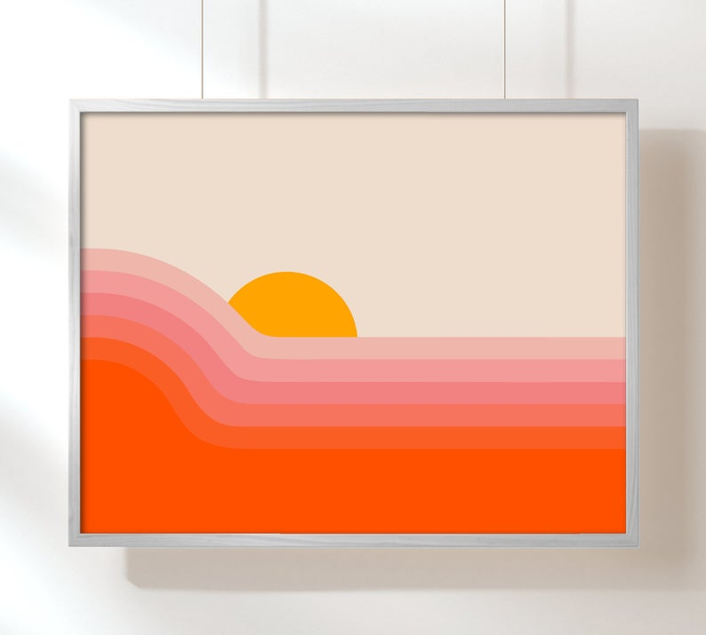 STYLECASTER | spring home decor trends | Etsy 2020 spring home decor trends | sunset print