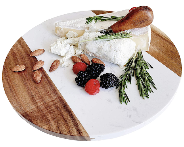 Marble Cheese Board with Acacia Accent