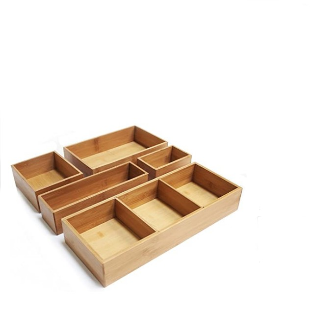 Seville Classics 5-Piece Bamboo Storage Box Set with Divider