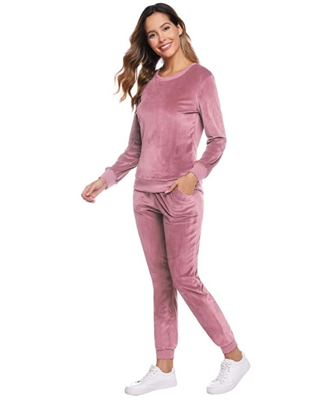 Abollria Women's Velour Sweatsuit Set