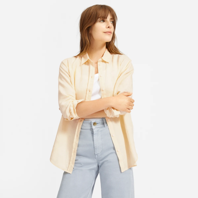 STYLECASTER | Everlane Sale May 2020 | yellow button down