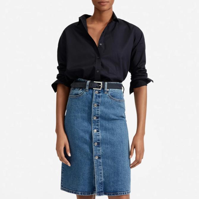 STYLECASTER | Everlane Sale May 2020 | denim skirt
