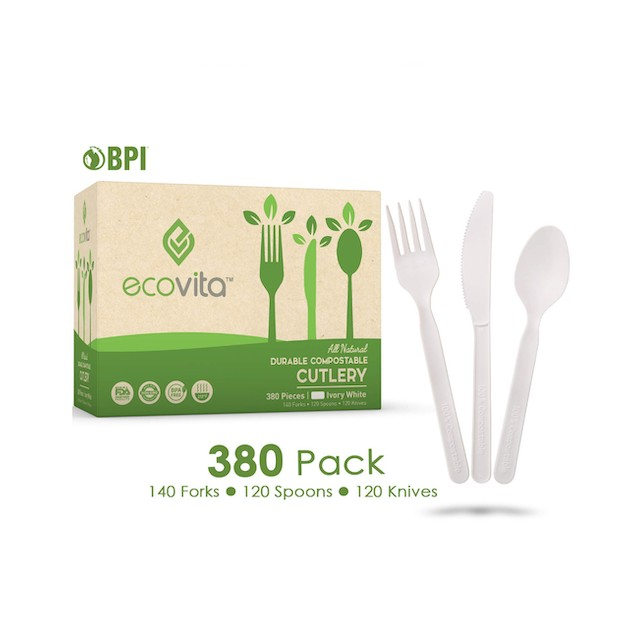 Ecovita Compostable Forks Spoons Knives Cutlery Combo Set