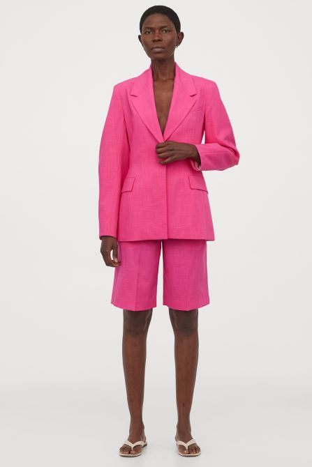 STYLECASTER | Summer 2020 Fashion Trends | h&m pink oversized suit and shorts