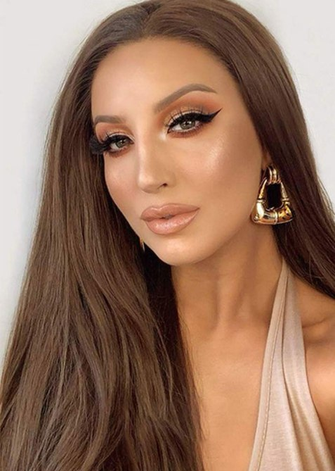 K'ryssma Long Brown Synthetic Glueless Lace Front Wig