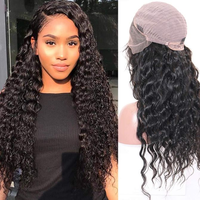 Releek Human Hair Deep Wave Lace Frontal Wig