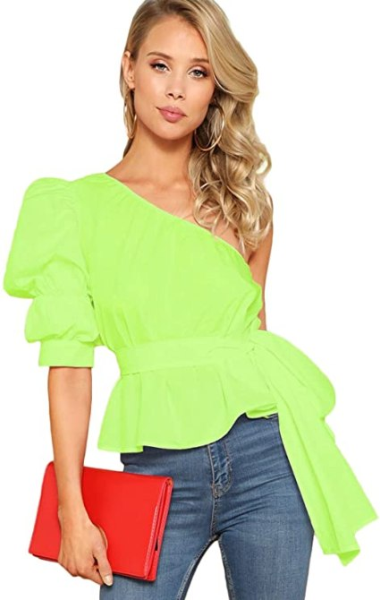 STYLECASTER | Summer 2020 Fashion Trends | romwe neon blouse