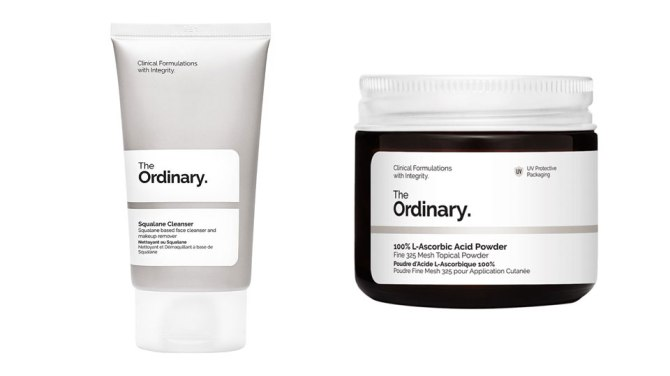 The Ordinary Squalane Cleanser and Vitamin C Powder