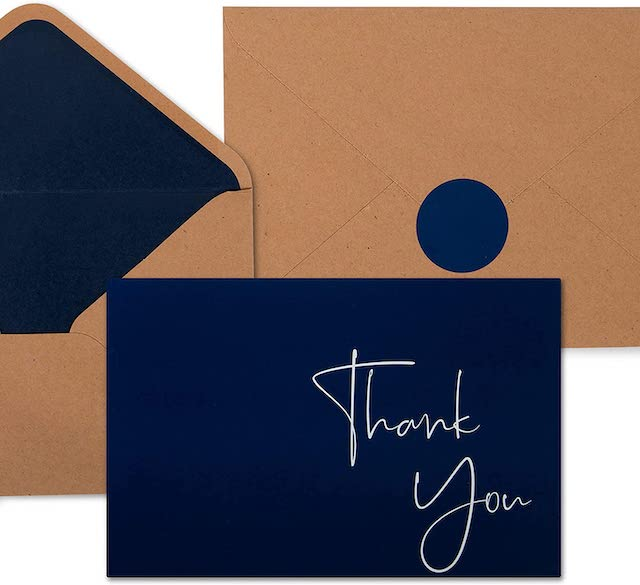 100 Navy Blue Thank You Cards