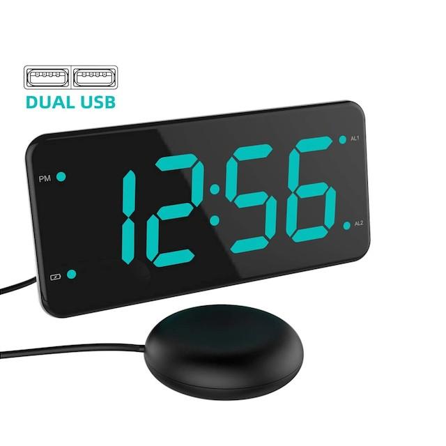 LIELONGREN Loud Alarm Clock with Bed Shaker