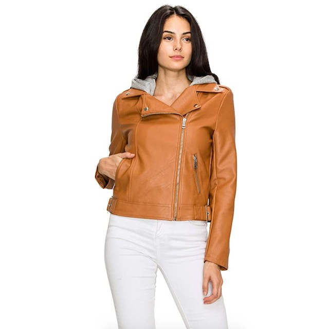 Lock and Love Women's Removable Hooded Faux Leather Jacket