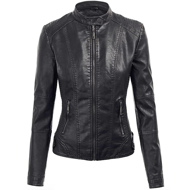 Made By Johnny Women's Faux Leather Zip Up