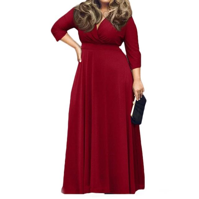 Vestido feminino com decote em V sólido POSESHE