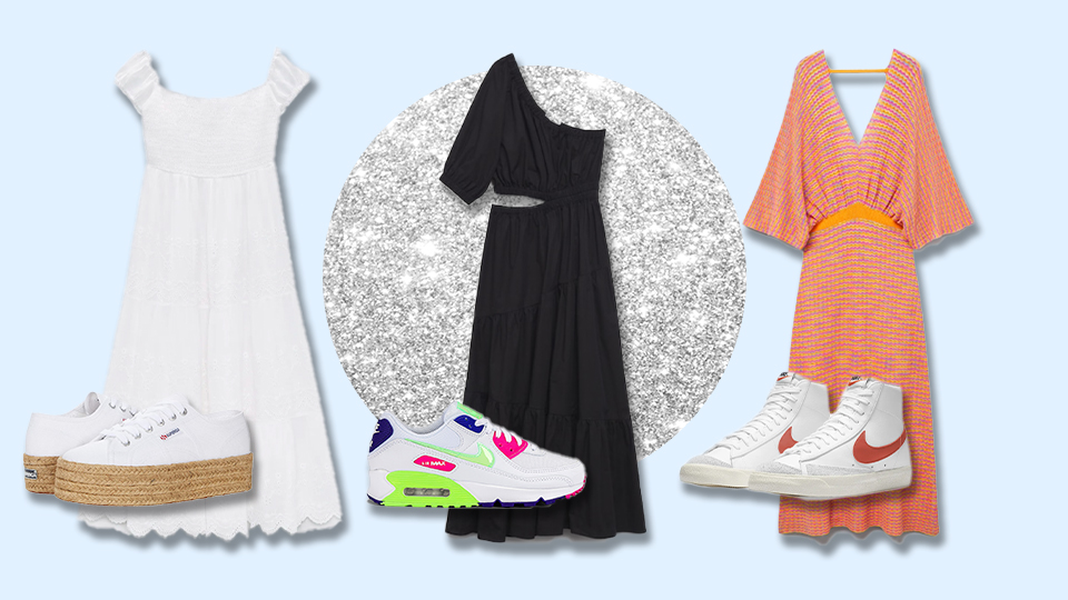 10 Foolproof Sneaker + Dress Combo Templates To Copy