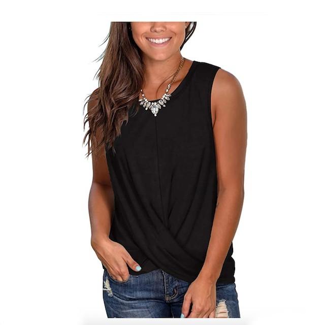 Womens One-Shoulder Twist-Hem Top Front Knot Short Sleeve Casual T-Shirt