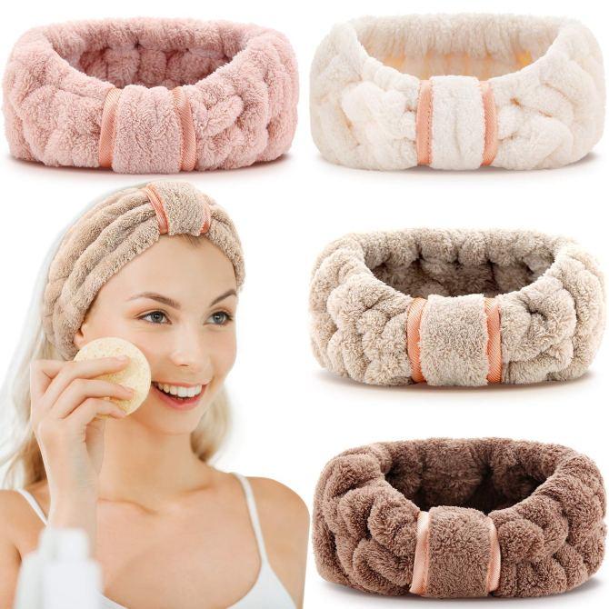 4 Pack Microfiber Headbands Spa Facial Headbands